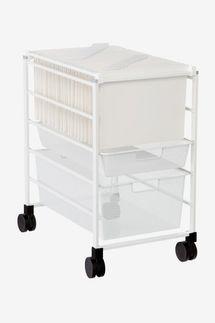 Elfa White Mesh File Carts