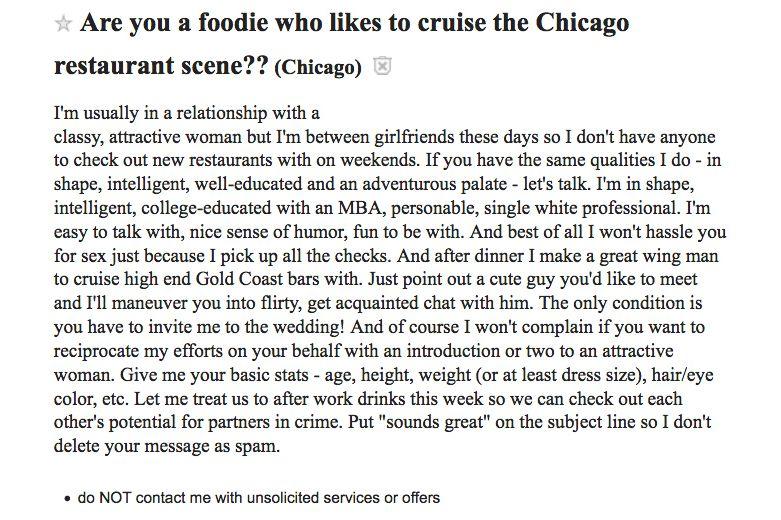 Creepy Craigslister Seeks Woman to 'Cruise' Restaurant Scene