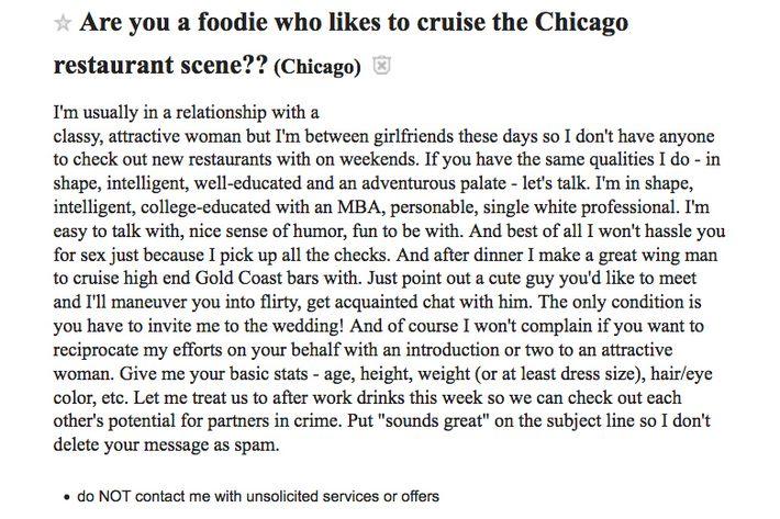 creepy craigslister seeks woman to cruise restaurant scene