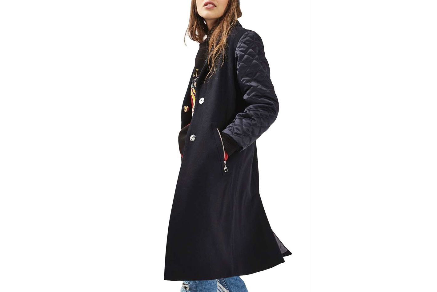 Top Shop Quilted Sleeve Wool Blend Coat