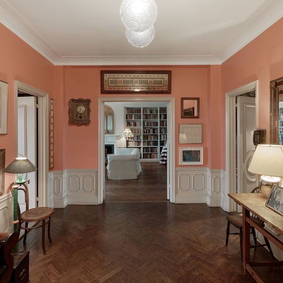 Room with pink walls.