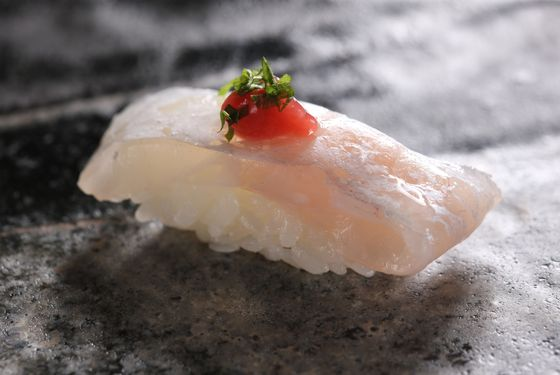 Tai (sea bream) with ume shiso.