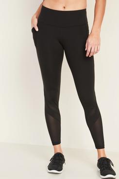 Old Navy Mid-Rise Elevate Side-Pocket Mesh-Trim 7/8-Length Leggings for Women