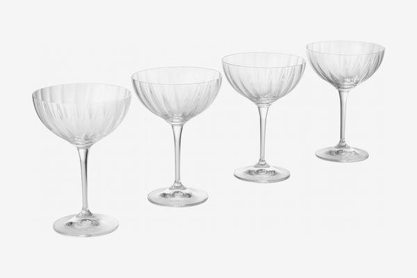 Aruna Optical Glass Set of 4 Champagne Saucers 210ml, Clear