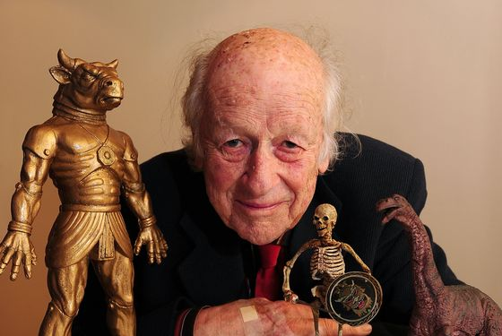 "Academy Award winning producer and special effects wizard Ray Harryhausen is pictured with some of his ""creatures"" in advance of a special 'In Person' Q&A session on day eight of the Edinburgh International Film Festvial inside Cineworld cinema on June 25, 2008 in Edinburgh, Scotland."