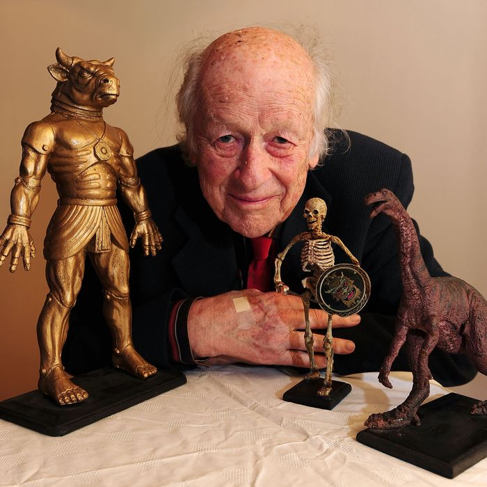 Academy Award winning producer and special effects wizard Ray Harryhausen is pictured with some of his