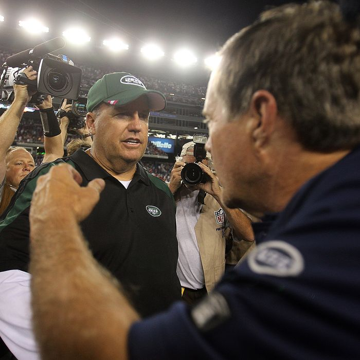 FOXBORO, MA - OCTOBER 9: Bill Belichick of the New England Patriots shakes hands with Rex Ryan of the New York Jets at Gillette Stadium on October 9, 2011 in Foxboro, Massachusetts. (Photo by Jim Rogash/Getty Images)