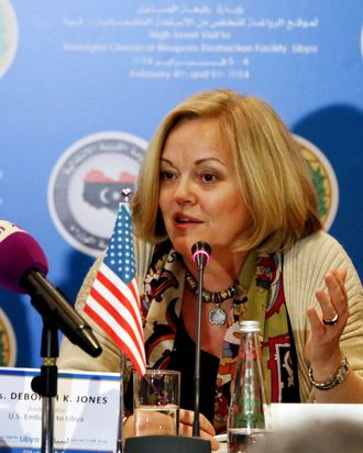 US Ambassador to Libya Deborah Jones speaks during a press conference in Tripoli on February 4, 2014.