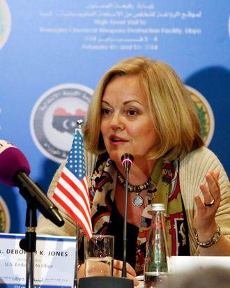 US Ambassador to Libya Deborah Jones speaks during a press conference in Tripoli on February 4, 2014.