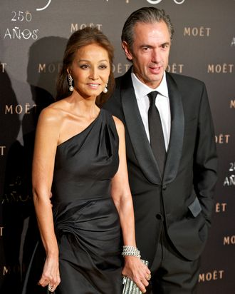 Isabel Preysler and President & Chief Executive Officer of Mo?t & Chandon Daniel Lalonde attend Moet Chandon 250 Anniversary party at the French Embassy on December 14, 2011 in Madrid, Spain.