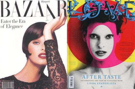 Twenty years later, Linda's <i>Harper's Bazaar </i>cover<i> </i>remains one the very best in fashion imagery. Photo duo Mert and Marcus just shot her for <i>Love</i> magazine, inspired by punk artist Jamie Reid's screenprinting.