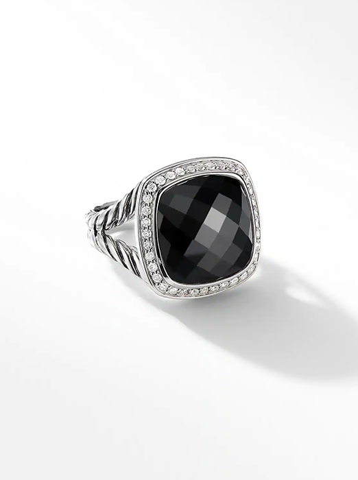 Albion Ring with Black Onyx and Diamonds, 14mm