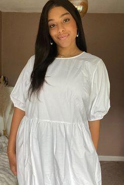 ASOS DESIGN Curve Tiered Cotton Poplin Smock Midi Dress in White