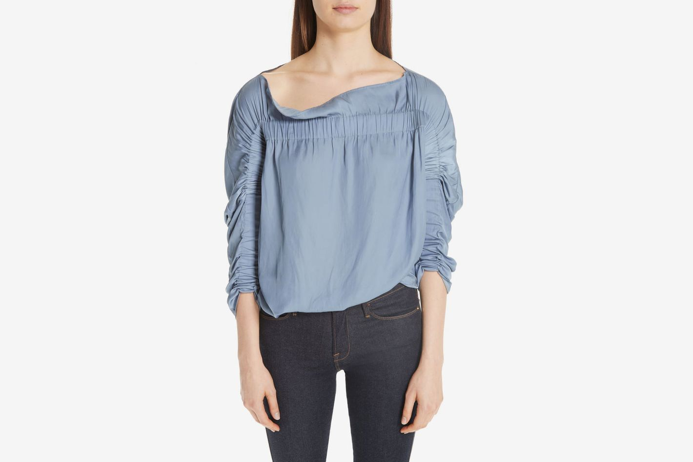 Zero + Maria Cornejo Clio Ruched Off the Shoulder Top