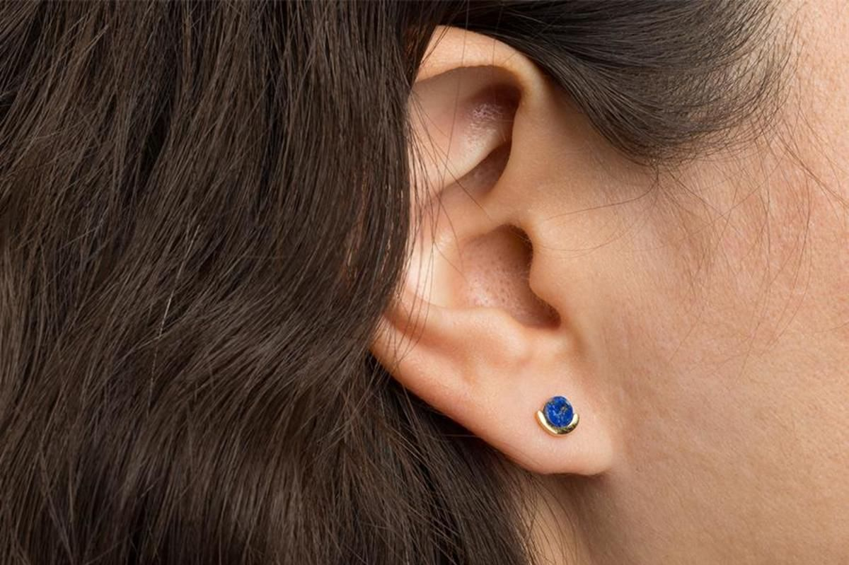 Poketo Lapis Post Earrings, Gold/Blue