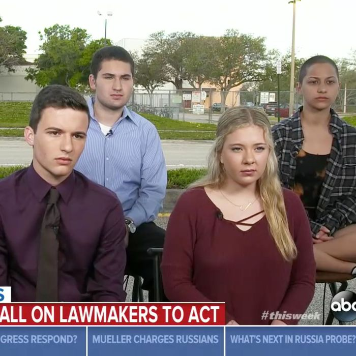 From left to right, Stoneman Douglas students David Hogg, Cameron Kasky, Alex Wind, Jaclyn Corin, and Emma Gonzalez.