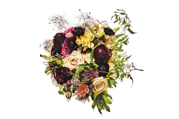 Sahara and Sterling Silver roses, scabiosa, astrantia, hellebore, ranunculus, carnation, silver brunia, nigella pod, smoke bush, lysimachia, jasmine vine, oregano, and bay leaf