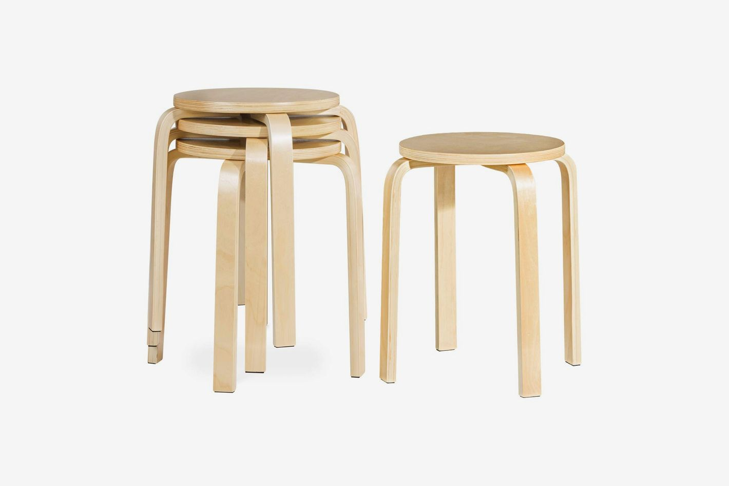 COSTWAY 17-inch Bentwood Stools (Set of 4)