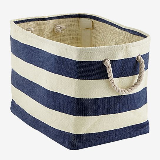 The Container Store Navy & Ivory Rugby Stripe Storage Bin With Rope Handles
