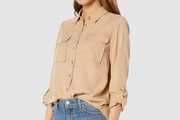 The Drop Women's Erin Long-Sleeve Loose Fit Utility Pocket Shirt