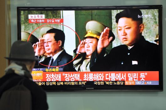 A South Korean man watches TV news about the alleged dismissal of Jang Song-Thaek, North Korean leader Kim Jong-Un's uncle, at a railway station in Seoul on December 3, 2013.  South Korea's spy agency suggested in parliament that Jang migh have been removed from his post with two of his close confidants executed in public in late November.