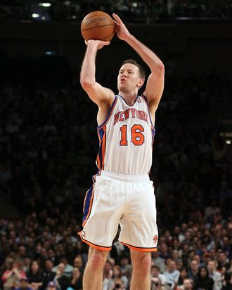 Steve Novak #16 of the New York Knicks in action against the Toronto Raptors on March 20, 2012 at Madison Square Garden