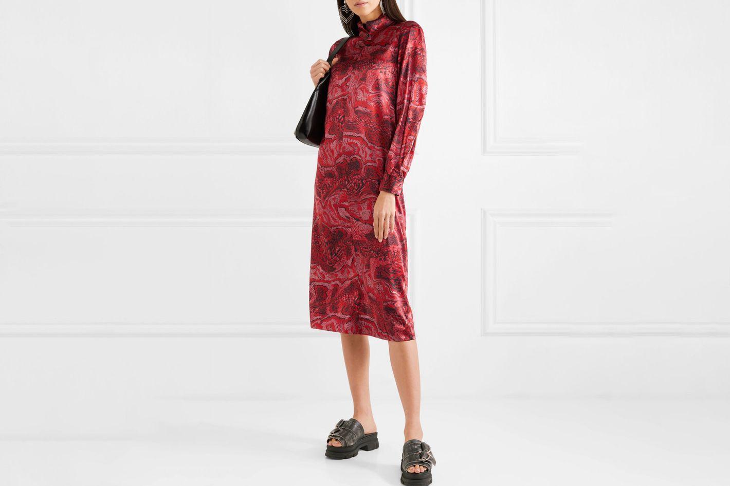 Ganni Printed Stretch-Silk Satin Midi Dress