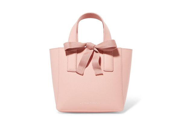 Loeffler Randall Mini grosgrain-trimmed textured-leather tote