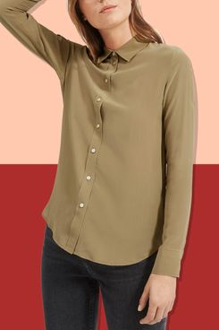 Everlane Clean Silk Relaxed Shirt, Covert Green