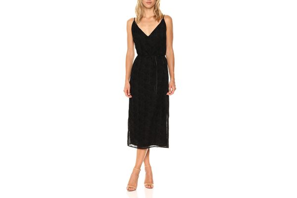 BB Dakota Women's Alayna Burnout Velvet Belted Midi Dress