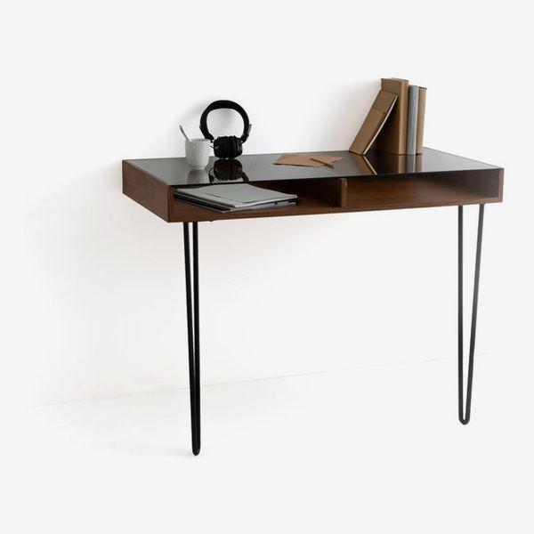 WATFORD Vintage-Style Walnut & Metal Console Desk
