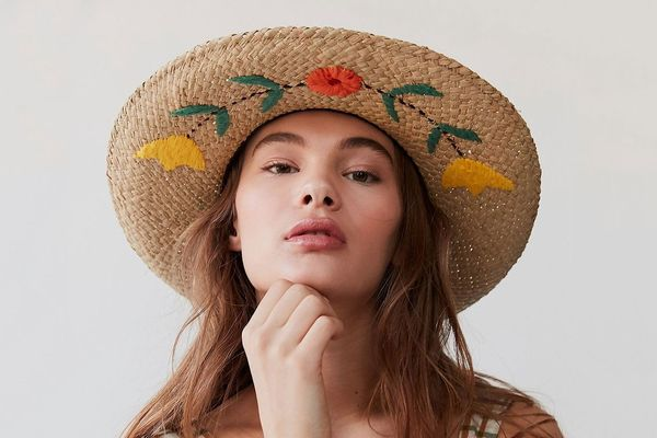 Urban Outfitters Brixton Floral Embroidered Rancher Hat