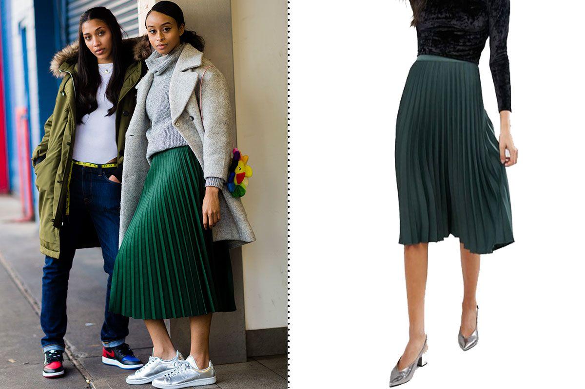 Miss Selfridge Satin Crepe Pleated Midi Skirt