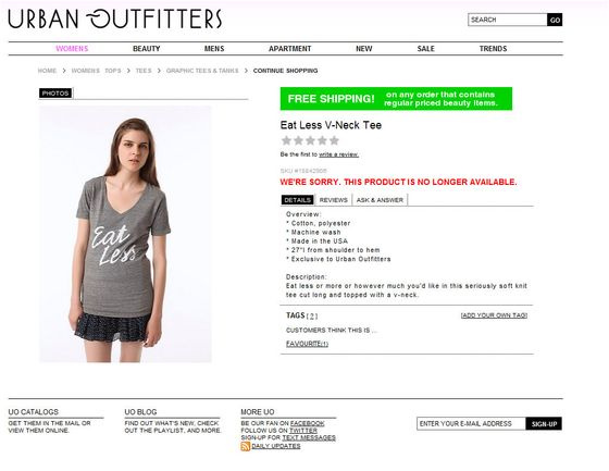 <b>Controversy:</b> Urban Outfitters, the worlds largest purveyor of vaguely ethnic tapestries hung in dorm rooms, put this shirt on a super skinny, pale model. Because of course.  <b>Resolution:</b> They pulled the shirt and ate the loss.