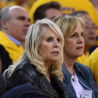 OAKLAND, CA - APRIL 27: Shelly Sterling, the wife of Donald Sterling owner of the Los Angeles Clippers, watches the Clippers against the Golden State Warriors in Game Four of the Western Conference Quarterfinals during the 2014 NBA Playoffs at ORACLE Arena on April 27, 2014 in Oakland, California. The players wore theirs warm up this way in protest of owner Donald Sterling's racially insensitive remarks. NOTE TO USER: User expressly acknowledges and agrees that, by downloading and or using this photograph, User is consenting to the terms and conditions of the Getty Images License Agreement. (Photo by Thearon W. Henderson/Getty Images)