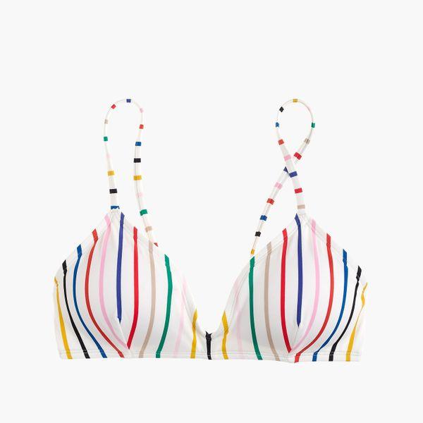 J. Crew Eco french bikini top in rainbow stripe