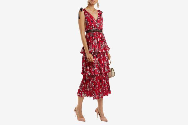 Self-Portrait Pleated Floral-print Midi Dress