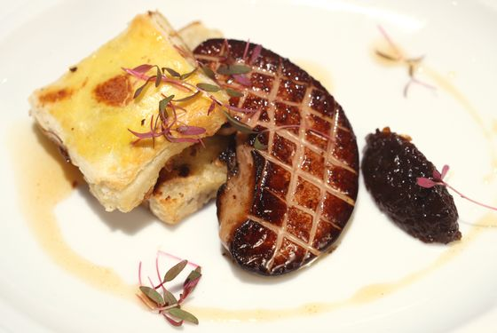 Seared Huson Valley foie gras with a toasted pecan biscuit and vidalia marmalade.