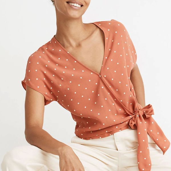 Madewell Sash-Tie Wrap Top in Polka Dot