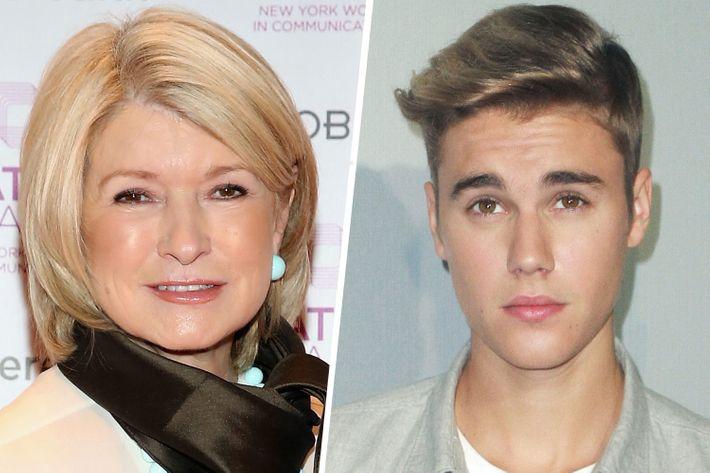 Martha Stewart, Justin Beiber.