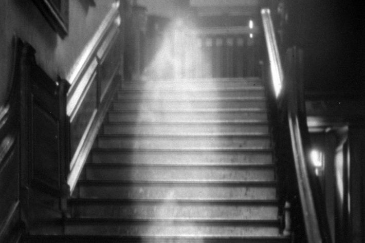 Ghost descending the staircase at Raynham Hall, Norfolk, England.  (Photo by Time Life Pictures/Pictures Inc./The LIFE Picture Collection/Getty Images)
