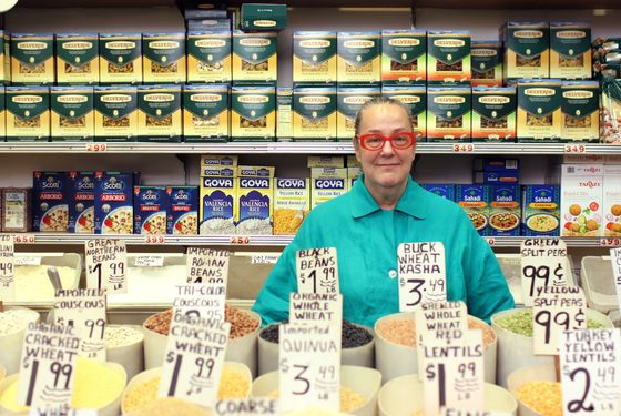 Hastreiter amid the provisions at Ninth Avenue International Foods.