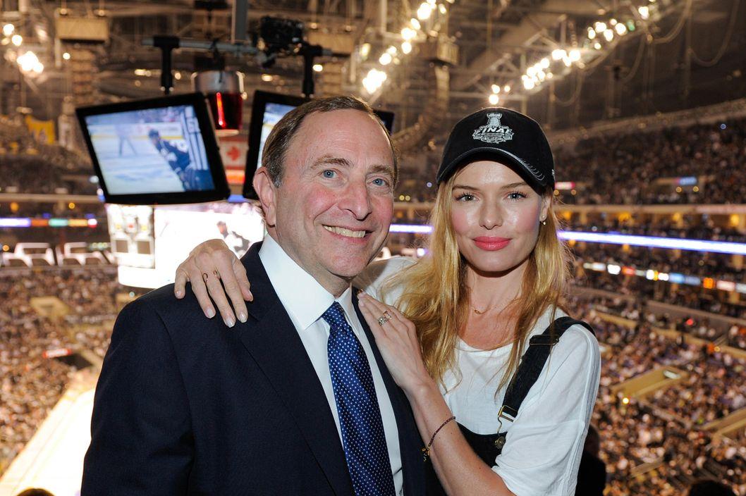 LOS ANGELES, CA - JUNE 04:  Gary Bettman (L) and Kate Bosworth attend Game One of the 2014 NHL Stanley Cup Final at the Staples Center on June 4, 2014 in Los Angeles, California  (Photo by Noel Vasquez/Getty Images)