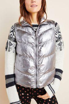 Anthropologie Metallic Puffer Vest