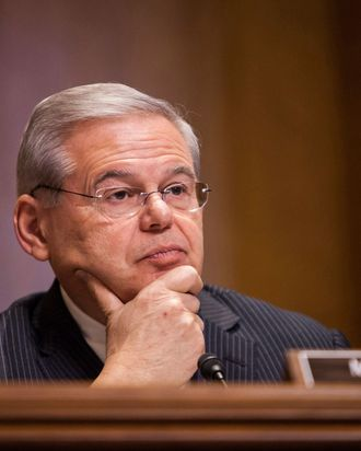 WASHINGTON, DC - FEBRUARY 03: Committee Ranking Member Senator Bob Menendez (D-N.J.) listens to witnesses during a Senate Foreign Relations committee hearing on U.S. and Cuban relations in Washington, D.C. on February 3, 2015. (Photo by Samuel Corum/Anadolu Agency/Getty Images)