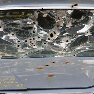 The windshield of Timothy Russell's car.