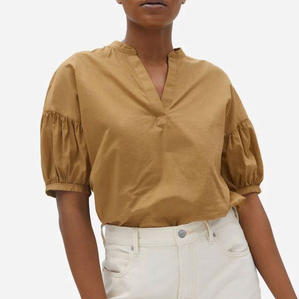 Everlane The Split-Neck Puff-Sleeve Air Shirt