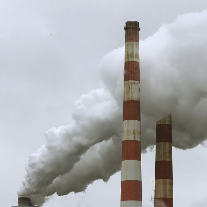 NEWBURG, MD - MAY 29: Emissions spew out of a large stack at the coal fired Morgantown Generating Station, on May 29, 2014 in Newburg, Maryland. Next week President Obama is expected to announce new EPA plans to regulate carbon dioxide emissions from existing coal fired power plants. (Photo by Mark Wilson/Getty Images)