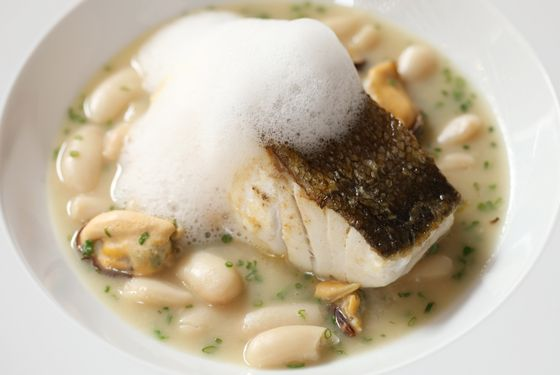 Topped with mussel froth.