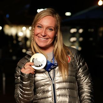 U.S. Olympian and gold medalist Jamie Anderson visits the USA House in the Olympic Village on February 9, 2014 in Sochi, Russia.